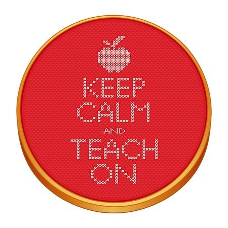 punto cruz: Mantener la calma y ense�o sobre la costura de punto de cruz sobre el bastidor de bordado de madera con una manzana para el profesor.