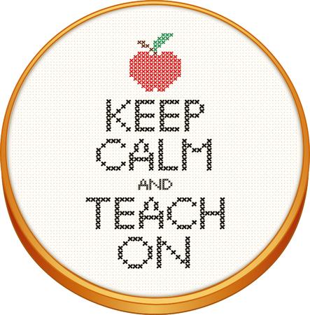 Blijf kalm en Teach Op kruissteek handwerk op hout borduurring met een appel voor de leraar.