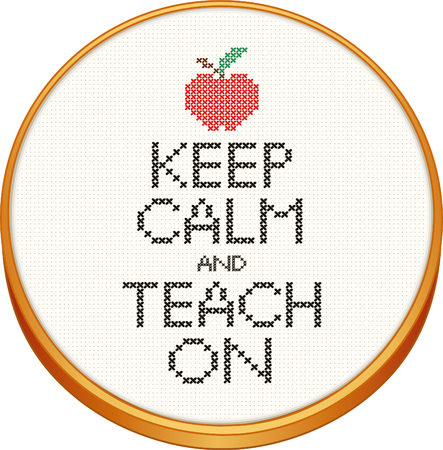 stitchery: Keep Calm and Teach On cross stitch needlework on wood embroidery hoop with an apple for the teacher. Illustration
