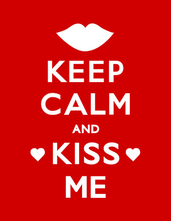 Keep Calm and Kiss Me poster with hearts and a kiss, red background.
