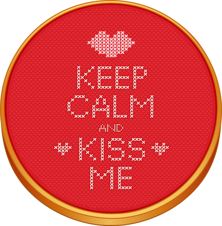 Keep Calm and Kiss Me cross stitch embroidery on wood embroidery hoop with love, a big kiss and hearts, red Aida even-weave cloth texture background needlework sampler isolated on white.