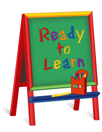 nursery school: Ready to Learn text on green chalkboard wood easel for children, box of multicolor chalk, isolated on white background, for preschool, daycare, nursery school, kindergarten. Illustration