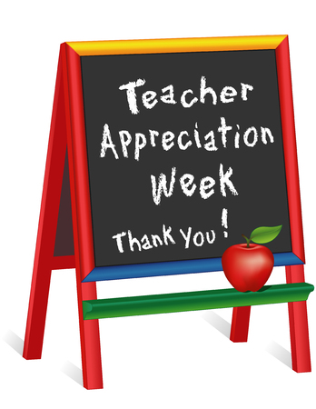 nursery school: Teacher Appreciation Week sign, annual American holiday 1st week of May, red apple, chalk text on multicolor wood childrens easel, thank you for preschool, daycare, nursery school, kindergarten. Isolated on white background.