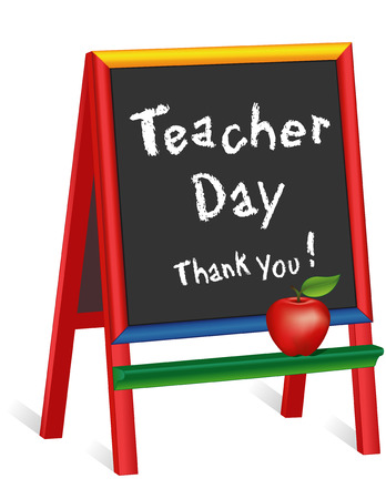 day nursery: Teacher Day sign, annual American holiday on Tuesday of 1st full week of May, red apple, chalk text on multicolor wood childrens easel, thank you, for preschool, daycare, nursery school, kindergarten. Illustration