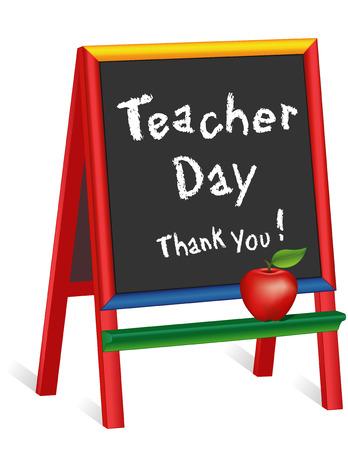 Znak Dzień Nauczyciela roczna amerykańskie święto we wtorek o 1 pełny tydzień maja, czerwone jabłko, kredy tekst na wielokolorowe dla dzieci drewniane sztalugi, dziękuję, do przedszkola, przedszkola, żłobka, przedszkola. Ilustracje wektorowe