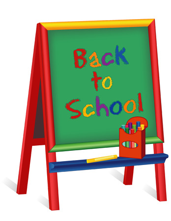 elementary schools: Back to School sign, text on green chalkboard wood easel for children, box of multicolor chalk, isolated on white background, for preschool, daycare, nursery school, kindergarten.