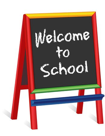 grammar school: Welcome to School sign, chalk text greeting on multi color wood childrens easel, for preschool, daycare, nursery school, kindergarten, elementary school.