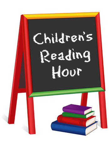 text books: Childrens Reading Hour Sign, chalk text on multicolor wood childrens easel with stack of books for schools, libraries and bookstores, isolated on white background.