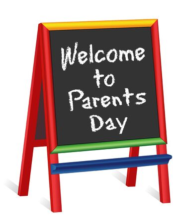 nursery school: Welcome to Parents Day sign, chalk text greeting on multicolor wood childrens easel sign, for preschool, daycare, nursery school, kindergarten, elementary school. Illustration