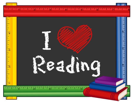 lectura: Amo el leer la muestra, la tiza texto en la pizarra con marco multicolor regla, pila de libros para escuelas, bibliotecas y librerías, aisladas sobre fondo blanco.