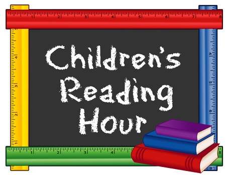 back in an hour: Childrens Reading Hour sign, chalk text on blackboard with multicolor ruler frame, stack of books for schools, libraries and bookstores, isolated on white background.