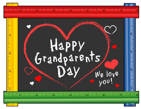 Grandparents Day, USA holiday on first Sunday of September following Labor Day, We love You! Hearts and kisses, chalk text on chalkboard with multi color ruler frame for preschool, daycare, kindergarten, nursery and elementary school. Ilustração