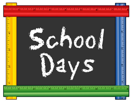 Giorni di scuola, testo gesso sulla lavagna con multi cornice righello di colore, per la scuola materna, asilo nido, scuola materna, scuola materna e scuola elementare.