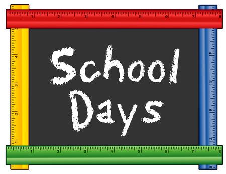 School Days, le texte de la craie sur le tableau noir multi cadre de la règle de couleur, pour le préscolaire, garderie, jardin d'enfants, école maternelle et élémentaire.