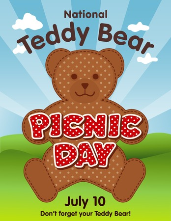stuffed: Teddy Bear Picnic Day poster, national holiday in USA on July 10, when kids and their favorite stuffed toys have a lunch outdoors, red polka dot text, blue sky background. Illustration