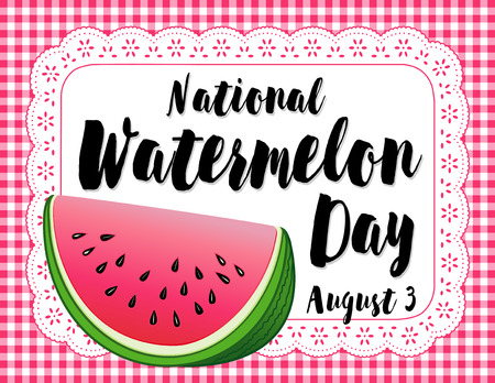 Watermelon Day poster, national holiday in USA on August 3, celebrate with a juicy slice of tasty watermelon on a lace doily placemat with pink gingham check background.