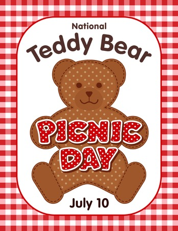 national holiday: Teddy Bear Picnic Day poster, national holiday in USA on July 10, kids and their favorite stuffed toys have lunch outdoors, red polka dot text, gingham check background. Illustration