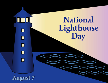 Lighthouse Day, national holiday in USA held annually on August 7th, seaside coast lighthouse with light beacon, night time background. Ilustração