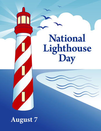 national: Faro día, fiesta nacional en EE.UU. lleva a cabo anualmente el 7 de agosto, faro de la costa junto al mar con el faro de luz, cielo azul de fondo de rayos.