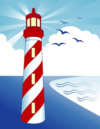 Lighthouse with light beacon, birds on the bay at the ocean shore, blue sky ray background.