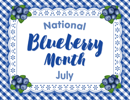 Blueberry Month, celebrated each July in USA, juicy berries isolated on white eyelet lace doily place mat on blue gingham check background.