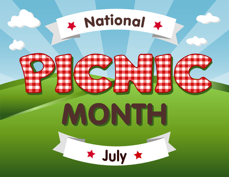 sky brunch: Picnic Month, national USA holiday in July celebrates the love of being outside and having a nice relaxing meal together with family and friends, red gingham checks text, blue sky background.