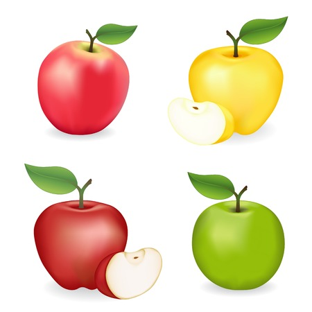 orchard fruit: Apples, Pink Lady, Granny Smith, Red and Golden Delicious varieties, fresh, natural, ripe, orchard garden fruit isolated on a white background.