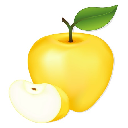 golden apple: Apple, Golden Delicious with fresh slice, natural orchard garden fruit isolated on white background.