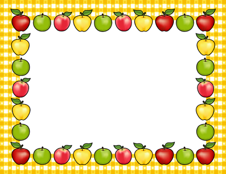 lady in red: Apple frame place mat with red and golden Delicious, green Granny Smith and Pink Lady fruit, white center with copy space, gingham check border in yellow tablecloth design pattern.