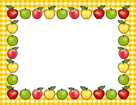 Apple-Frame-Platz-Matte mit rot und Golden Delicious, Granny Smith Grün und Pink Lady Obst, weiße Mitte mit Kopie Raum, Ginghamüberprüfung Grenze in gelben Tischdecke Design-Muster. Standard-Bild - 60895543