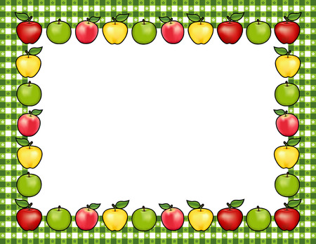 Apple frame place mat with red and golden Delicious, green Granny Smith and Pink Lady fruit, white center with copy space, gingham check border in green tablecloth design pattern. Illustration