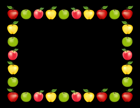 Apple frame place mat with red and golden Delicious, green Granny Smith and Pink apple fruits, black background with copy space.