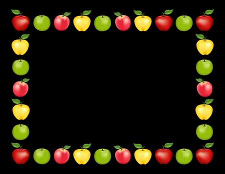 Apple-Frame-Platz-Matte mit rot und Golden Delicious, Granny Smith grün und rosa Apfelfrüchte, schwarzer Hintergrund mit Kopie Raum. Standard-Bild - 60895545