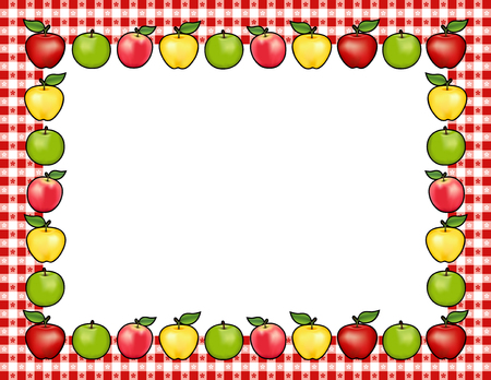 Apple Frame, red and golden Delicious, green Granny Smith and Pink apple fruits, white center with copy space, gingham check border in red tablecloth pattern.