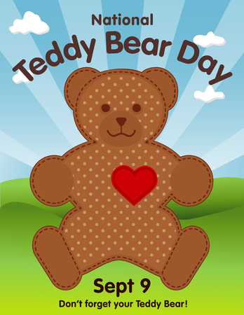 Teddy Bear Day, national holiday in USA on September 9, favorite childrens toy with heart full of love, grass lawn, blue sky background.