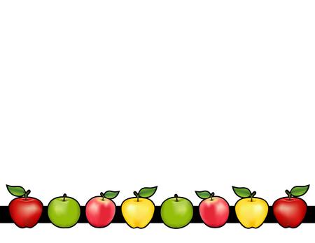 Apple-Bar-Platz-Matte mit roten und Golden Delicious, Granny Smith grün und rosa Apfelfrüchte, weißen Hintergrund. Standard-Bild - 60895552