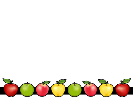 Apple bar place mat with red and golden Delicious, green Granny Smith and Pink apple fruits, white background. Illustration