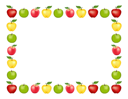 Apple frame place mat with red and golden Delicious, green Granny Smith and Pink apple fruits, white background with copy space.
