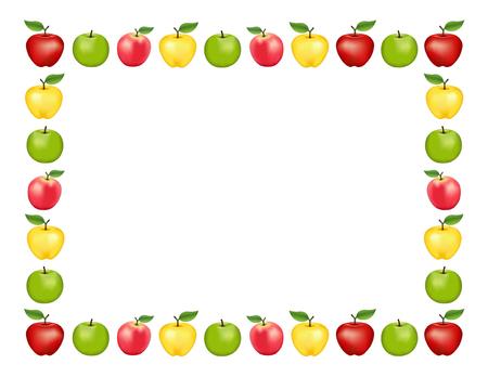 Apple-Frame-Platz-Matte mit rot und Golden Delicious, Granny Smith grün und rosa Apfelfrüchte, weißer Hintergrund mit Kopie Raum. Standard-Bild - 60895549