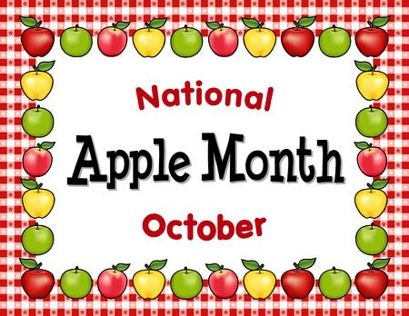 Apple-Monat, nationaler Feiertag jedes Jahr im Oktober in den USA, rot und Golden Delicious, Granny Smith grün und rosa Apfelfrüchte, matte rot Ginghamüberprüfung Tischdecke Frame Platz. Standard-Bild - 60895551