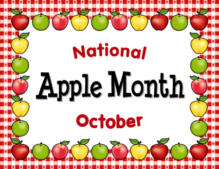 Apple Month, national holiday each October in USA, red and golden Delicious, green Granny Smith and Pink apple fruits, red gingham check tablecloth frame place mat.