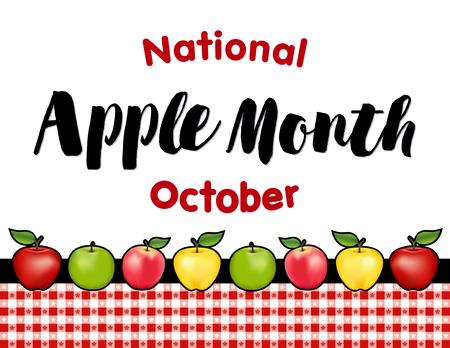 Apple-Monat, nationaler Feiertag jedes Jahr im Oktober in den USA, rot und Golden Delicious, Granny Smith grün und rosa Apfelfrüchte, rot Ginghamüberprüfung Tischdecke Hintergrund. Standard-Bild - 60895550