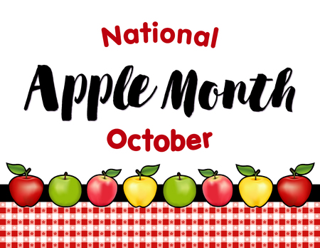 golden apple: Apple Month, national holiday each October in USA, red and golden Delicious, green Granny Smith and Pink apple fruits, red gingham check tablecloth background.