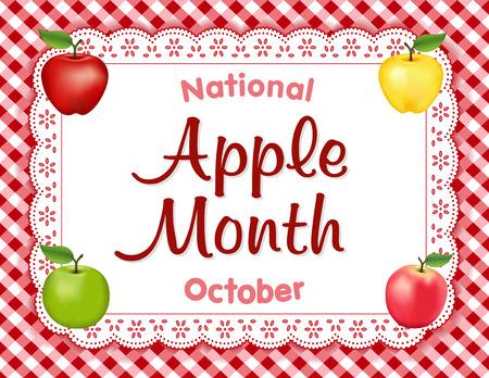 Apple-Monat, nationaler Feiertag jedes Jahr im Oktober in den USA, rot und Golden Delicious, Granny Smith grün und rosa Apfelfrüchte auf weißem Öse Spitzendeckchen Tischset, Hintergrund rot Ginghamüberprüfung. Standard-Bild - 60895553