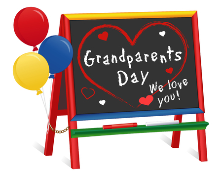 Grandparents Day, We love You! national holiday first Sunday of September following Labor Day. Chalk text on multicolor wood children's chalkboard easel, for preschool, daycare, nursery school, kindergarten. Illustration