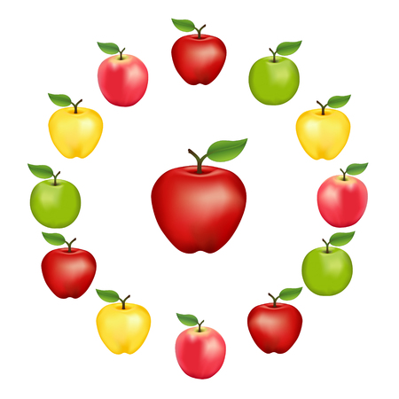 golden apple: Apples in a wheel, Granny Smith, Red Delicious, Golden Delicious and Pink Varieties, fresh, natural, ripe, orchard garden fruit in a circle, isolated on a white background.