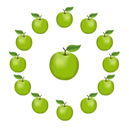 Granny Smith apples in a wheel, fresh, natural, ripe, orchard garden fruit in a circle, isolated on a white background.