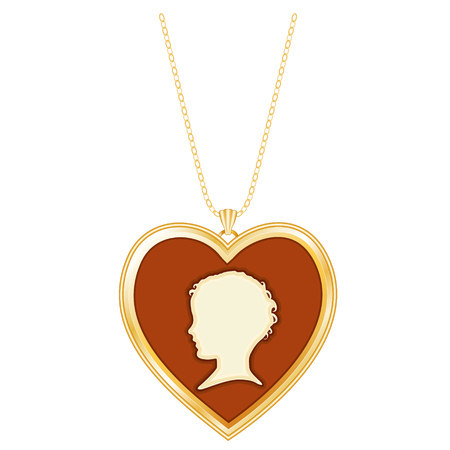 cameo: Gold Heart Cameo Locket, Chain Necklace, Vintage keepsake, young child silhouette, golden chain necklace, isolated on white background.