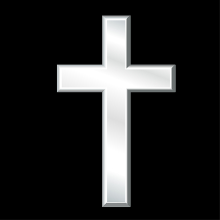 Christian Cross, Symbol of Christianity, silver crucifix, symbol of Christian religion and faith, isolated on a black background.