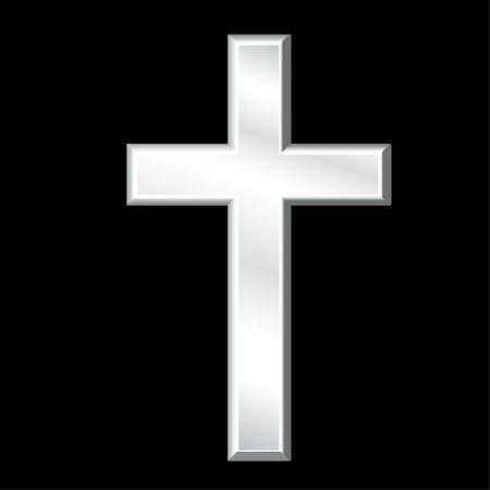 cristianismo: Cristiano Cruz, símbolo del cristianismo, crucifijo de plata, símbolo de la religión y la fe cristiana, aislado en un fondo negro. Vectores